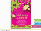 3rd Birthday Invitation Cards Personalized Girl Monkey 3rd 5th Birthday Invitation Card