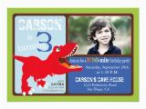 3rd Birthday Invitation Cards Red T Rex Dinosaur Third Birthday Invitation Card Zazzle