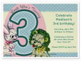 3rd Birthday Invitation Cards Vintage Lion Bunny 3rd Birthday Invitations Cards On