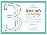 3rd Birthday Invitation Wording Boy 3rd Birthday Boy Dots Invitations Paperstyle