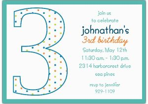 3rd Birthday Invitation Wording Boy 3rd Birthday Boy Dots Invitations Paperstyle