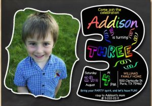 3rd Birthday Invitation Wording Boy 3rd Birthday Invitation Chalkboard Invite Rainbow Colors