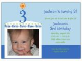 3rd Birthday Invitation Wording Boy Birthday Cake Boy Photo Third Birthday Invitations