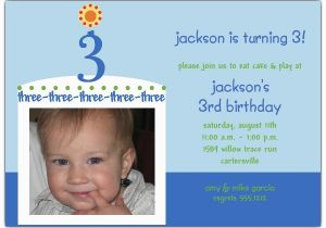 3rd Birthday Invitation Wording Boy Birthday Cake Boy Photo Third Birthday Invitations