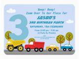 3rd Birthday Invitation Wording Boy Boys Transport 3rd Birthday Party Invitation Zazzle