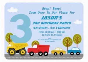 3rd Birthday Invitation Wording Boy Boys Transport Party Zazzle