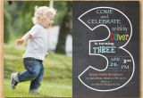 3rd Birthday Invitation Wording Boy Chalkboard 3rd Birthday Invitation with Picture Third