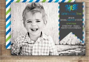 3rd Birthday Invitation Wording Boy Photo Birthday Invitation 1st 2nd 3rd Birthday Invitation