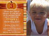 3rd Birthday Invitation Wording Boy Pumpkin 3rd Birthday Invitations Photo Card 1st First