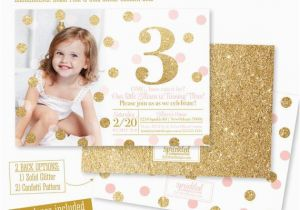 3rd Birthday Invites For Girl Pink And Gold Invitation Photo Card Blush