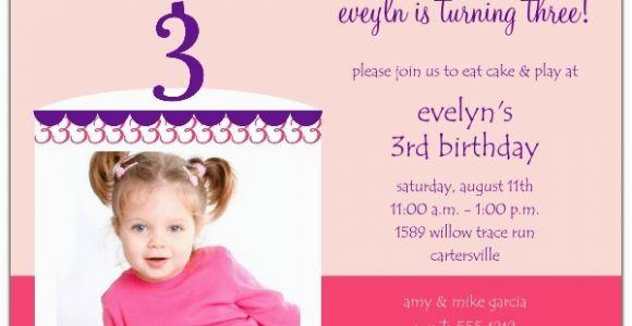 3rd Birthday Party Invitation Message 3rd Birthday Invitation Wording A Birthday Cake