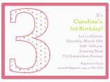 3rd Birthday Party Invites 3rd Birthday Girl Dots Invitations Paperstyle