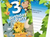 3rd Birthday Party Invites 3rd Birthday Party Jungle themed Animal Invitations