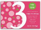 3rd Birthday Party Invites Birthday Bubbles Pink Green Third Party Invitations