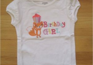 3t Birthday Girl Shirt toddler Girl Gymboree Fox Cupcake Birthday Girl White