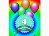 4 Year Old Birthday Cards Happy Birthday 4 Year Old Card Zazzle
