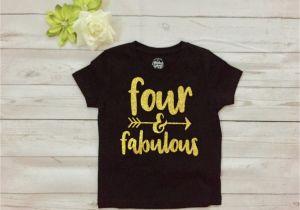 4 Year Old Birthday Girl Shirt Four