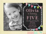 4 Year Old Birthday Party Invitations Birthday Girl Invitation Custom Chalkboard Bunting Photo