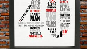 40 Year Old Birthday Gifts for Male Personalized 40th Birthday Gift for Him 40th Birthday 40th