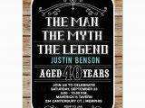 40 Year Old Birthday Present Man Man Myth Legend 40th Birthday Invitation 40 Year Old