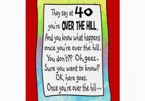 40th Birthday Card Messages Funny Over The Hill Greeting Zazzle Com