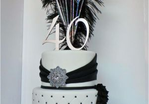40th Birthday Decorations Black And Silver White Elegant Cake