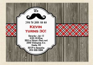 40th Birthday Invitation Wording For Men 30th Mustache 50th Bbq Wood