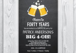 40th Birthday Invitation Wording for Men 40th Birthday Invitation 40th Birthday Invitation for Men