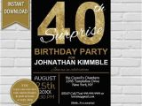 40th Birthday Invitation Wording for Men 40th Surprise Birthday Invitation 40th Birthday Invite