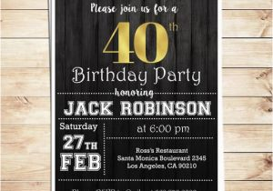 40th Birthday Invitation Wording for Men Surprise 40th Birthday Party Invitations for Him Men 40th