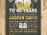 40th Birthday Invitations for Male 40th Birthday Invitation for Men Cheers Beers to 40 Years