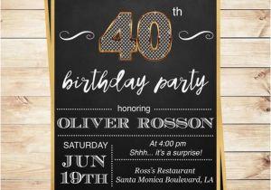 40th Birthday Invitations For Male Surprise Party Men Elegant