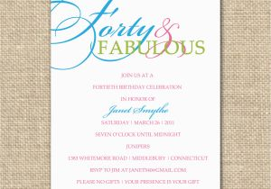 40th Birthday Invite Template 40th Birthday Invitation Template Best Template Collection
