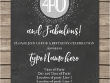 40th Birthday Invite Template Chalkboard 40th Birthday Invitations Template Printable