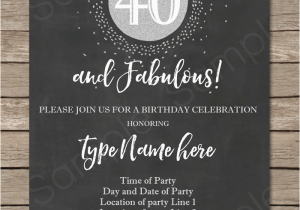 40th Birthday Invite Template Chalkboard 40th Birthday Invitations Template Printable