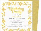 40th Birthday Invites Templates 40th Party Invitation Template Free