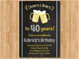 40th Birthday Party Invitations for Men 40th Birthday Invitation for Men Cheers Beers Invitation