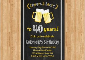40th Birthday Party Invitations For Men Invitation Cheers Beers