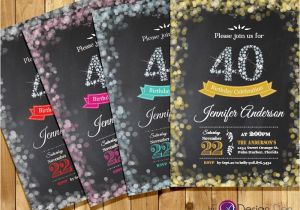 40th Birthday Party Invitations Online Adult 40th Birthday Invitation Bokeh Invitation Diamond