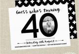 40th Birthday Photo Invitations 40th Birthday Invitation Black and White Invite by