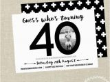 40th Birthday Photo Invitations 40th Birthday Invitation Black and White Invite by