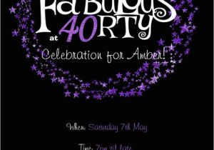 40th Birthday Photo Invitations 40th Birthday Invitation Purple Glitter Invitation You