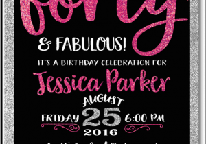 40th Birthday Photo Invitations Pink Black forty and Fabulous 40th Birthday Invitations