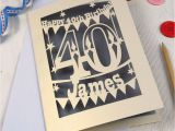 40th Birthday Place Cards Personalised Papercut 40th Birthday Card by Pogofandango