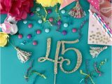 45th Birthday Decorations 45 Cake topper forty Five Party Decorations Adult