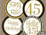 45th Birthday Decorations 45th Birthday Cupcake toppers Black Gold 45 Years Bday