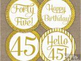 45th Birthday Decorations 45th Birthday toppers Gold Cupcake toppers Nifty