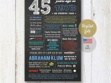 45th Birthday Gifts for Husband Personalized 45th Birthday Gift for Husband Him Daddy Uncle