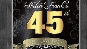 45th Birthday Invitations 45th Birthday Bash Custom Designed Invitation Black