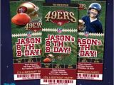 49ers Birthday Card San Francisco 49ers Tickets Birthday Invitation by